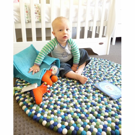 Blueberry Felt Ball Rug