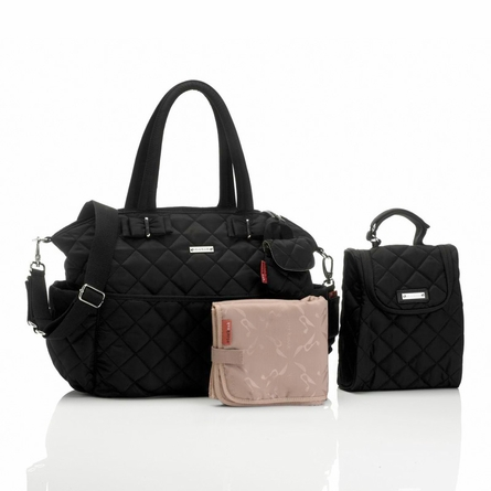 Bobby Quilted Diaper Bag in Black