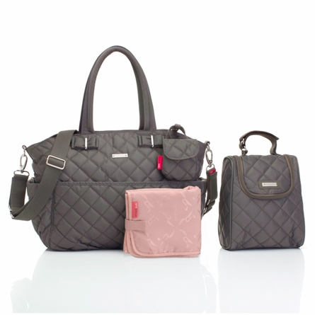 Bobby Quilted Diaper Bag in Charcoal