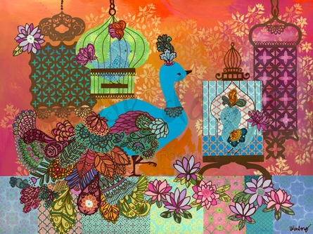 Boho Peacock Birdies Canvas Wall Art