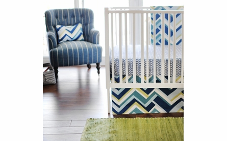 Bojangle in Navy Crib Sheet