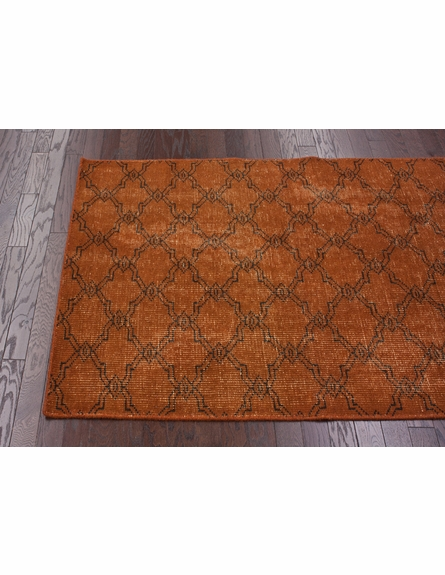Bold Overdyed Trellis Rug in Orange