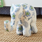 Bombay Blue Elephant Accent Pillow