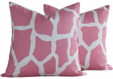 Bonjour from Paris Giraffe Throw Pillow