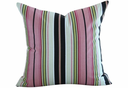 Bonjour from Paris Stripe Throw Pillow