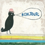 Bonjour Small Vintage Art Print on Wood