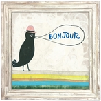 Bonjour White Wash Framed Art Print