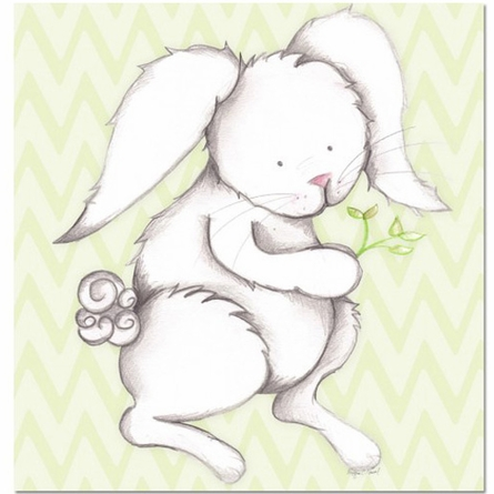 Bonny Bunny in Green Canvas Reproduction