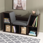 Bookcase with Reading Nook - Espresso