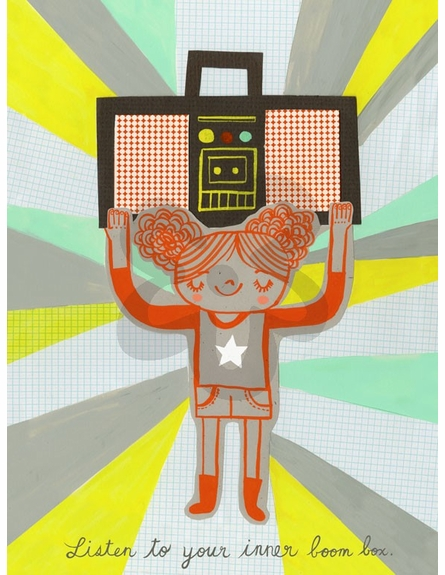 Boom Box Girl Canvas Wall Art