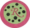 Border Monogram Round Rug with Polka Dots