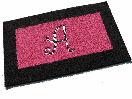 Border Rectangle Rug with Animal Print Monogram