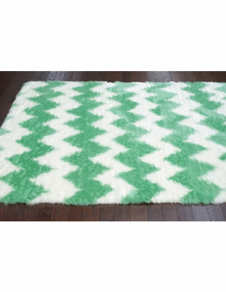 Borris Faux Sheepskin Chevron Rug in Light Green