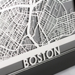 Boston Stainless Steel Framed Map