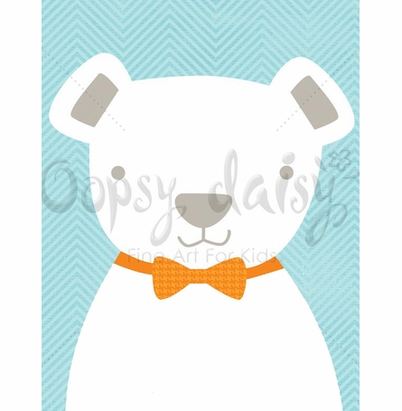 Bow Tie Teddy in Blue Canvas Wall Art