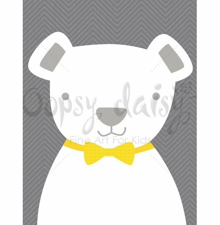 Bow Tie Teddy in Gray Canvas Wall Art