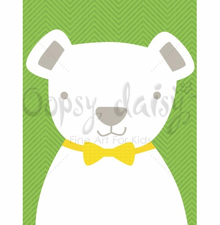 Bow Tie Teddy in Green Canvas Wall Art