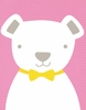 Bow Tie Teddy in Light Pink Canvas Wall Art