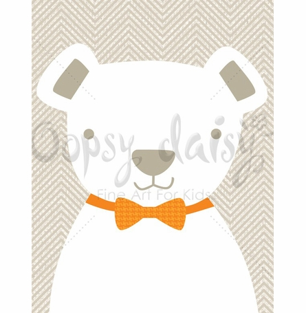 Bow Tie Teddy in Natural Canvas Wall Art
