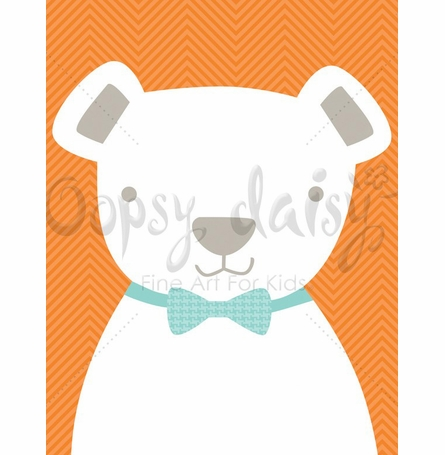 Bow Tie Teddy in Orange Canvas Wall Art