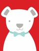 Bow Tie Teddy in Red Canvas Wall Art