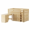 Box Low Loft Bed with Student Desk and 2 Cube Units