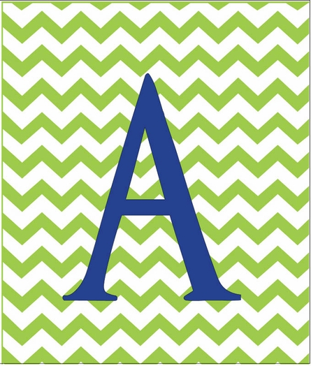 Boy Initial Personalized Chevron Canvas Reproduction