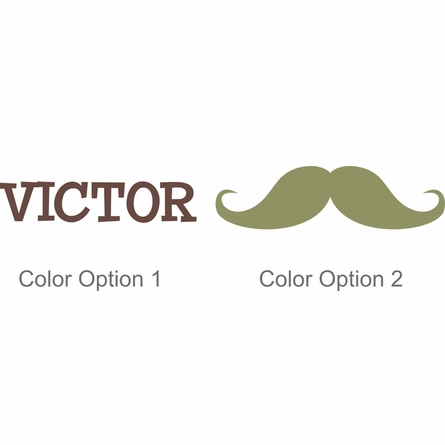 Boy Mustache Personalized Wall Decal