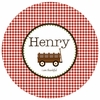 Boy's Gingham Personalized Melamine Plate