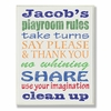 Boy's Gray Personalized Typography Playroom Rules Wall Plaque