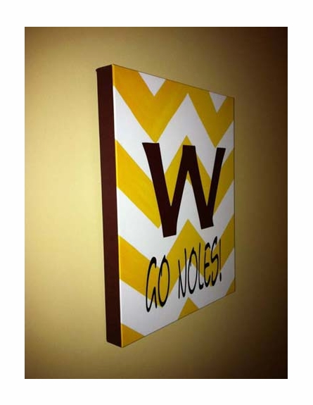 Boys Sports Team Personalized Chevron Stretched Canvas Art - Garnet Yellow and White