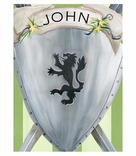 Brave Knight Shield Name Plaque Canvas Reproduction