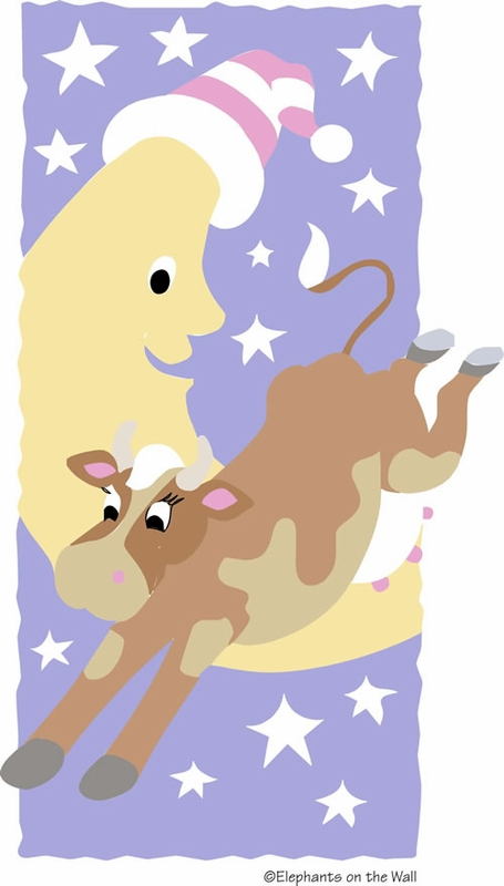 Bright Cow Jumped Over The Moon Paint By Number Wall Mural