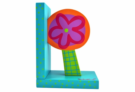 Bright Flowers Wooden Bookends