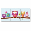 Bright Owls on Branch Wall Plaques - Set of 3