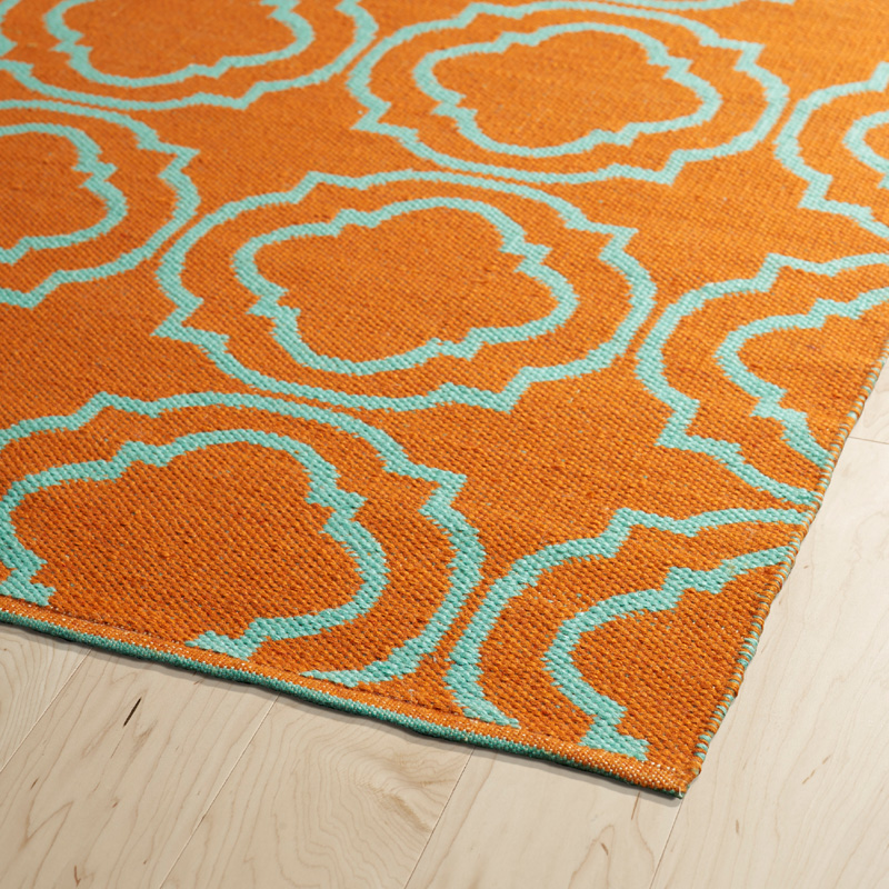 Brisa Double Quatrefoil Rug In Orange And Turquoise
