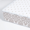 Brocade Khaki and Whisper Perfect Fit Crib Sheet