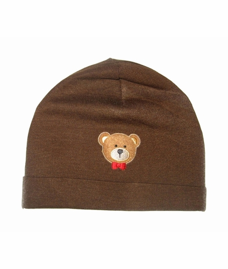 Brown Bear Applique Cotton Hat