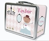 Brown Hair Glam Princess Personalized Lunch Box