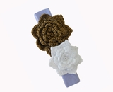 Brown & White/Lavender Headband