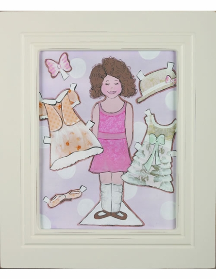 Brunette Paper Doll Weathered Frame Art