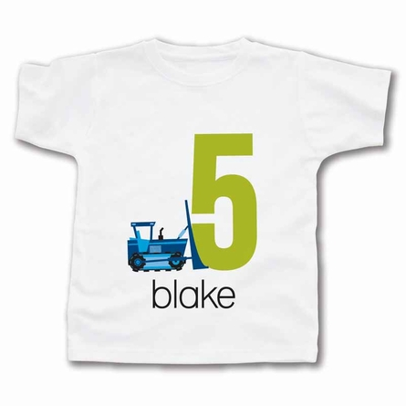 Bulldozer Number Boy Personalized T-Shirt