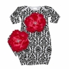 Bundle of Love Black Damask Hot Pink Peony Gown Set