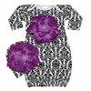 Bundle of Love Black Damask Purple Peony Gown Set
