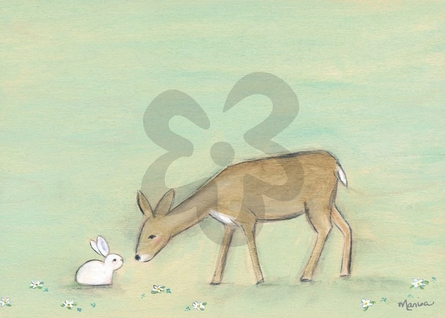 Bunny And The Deer Canvas Wall Art