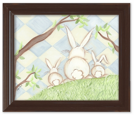 Bunny Blue Diamond Framed Canvas Reproduction