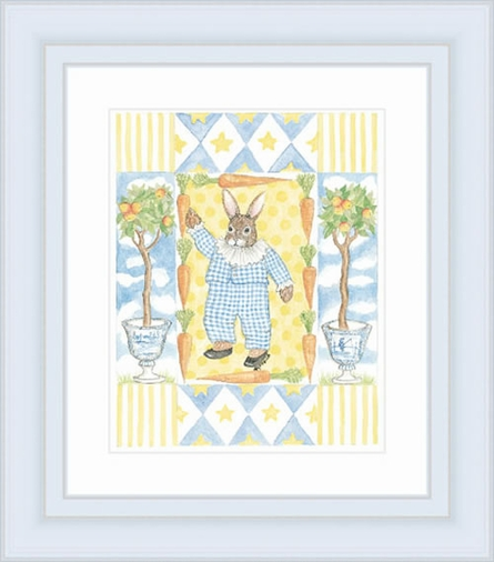 Bunny In Blue Framed Lithograph