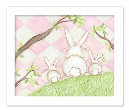 Bunny Pink Diamond Framed Canvas Reproduction
