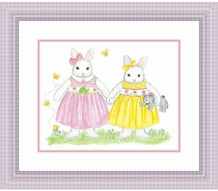 Bunny Sisters Framed Lithograph