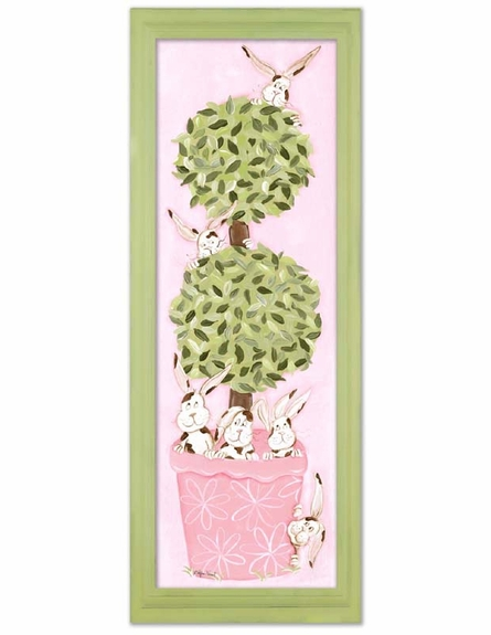 Bunny Topiary Canvas Reproduction
